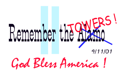 [memorial graphic entitled Remember the Towers 911, God Bless America, designed by K'Del]